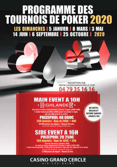 Tournoi poker Highlander No Limit 200€ + 40€ à 10h